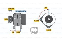 Alternator 2.0 TDi Without Clutch Pulley by Bosch
